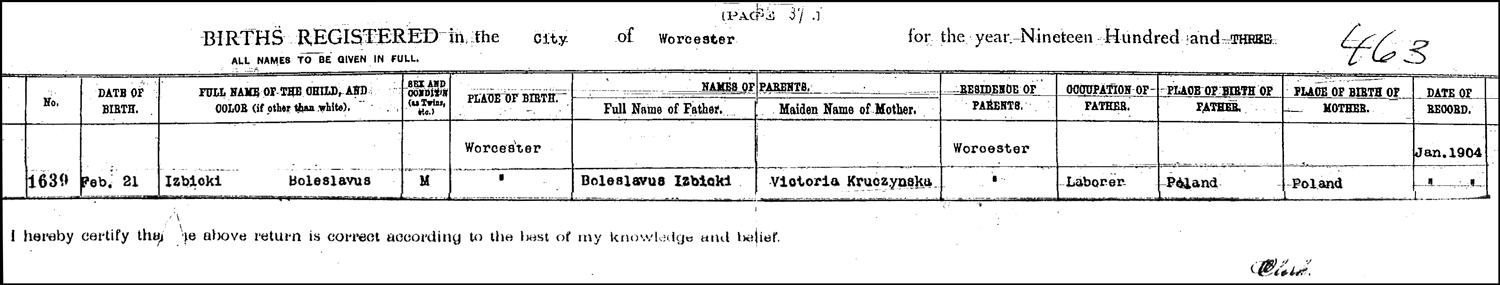 The Birth Record of Boleslaw P. Izbicki – 1903