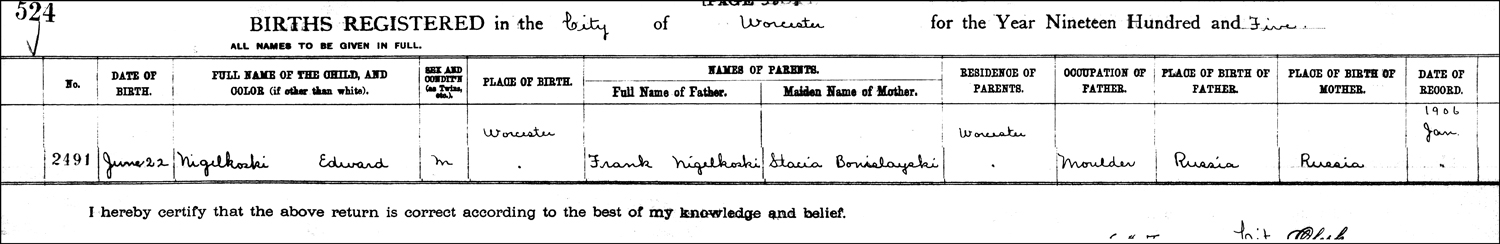 The Birth Record of Edward Niedzialkoski – 1905