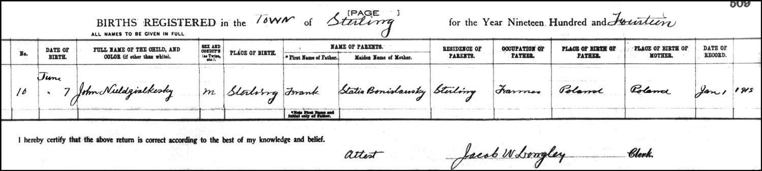 The Birth Record of John Niedzial – 1914