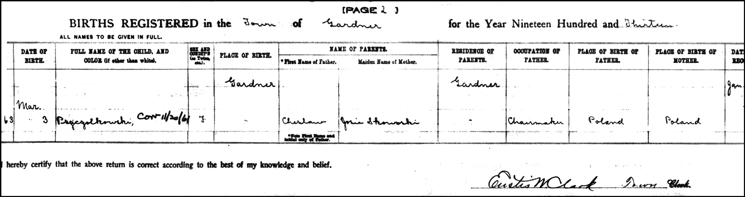 The Birth Record of Kazmera Pszczolkowski – 1913