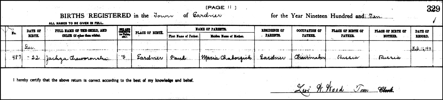 The Birth Record of Agnes Skowronski - 1910
