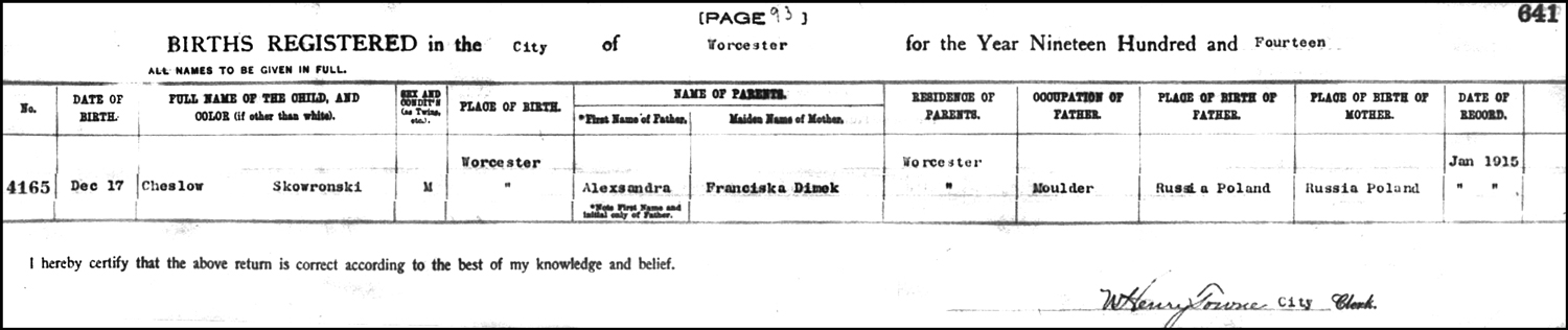 The Birth Record of Chester Stanley Skowronski – 1914