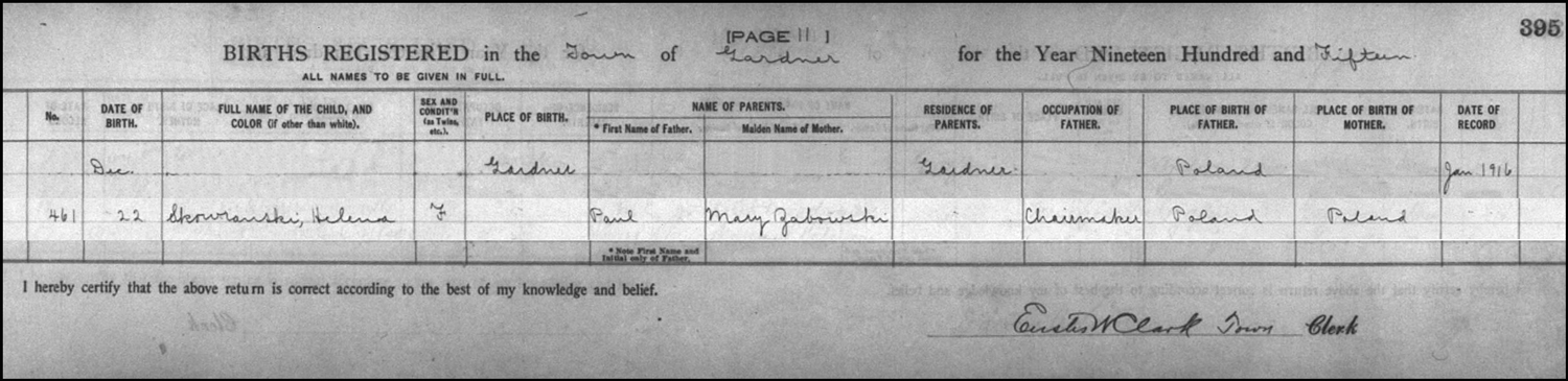 The Birth Record of Helena Skowronski – 1915