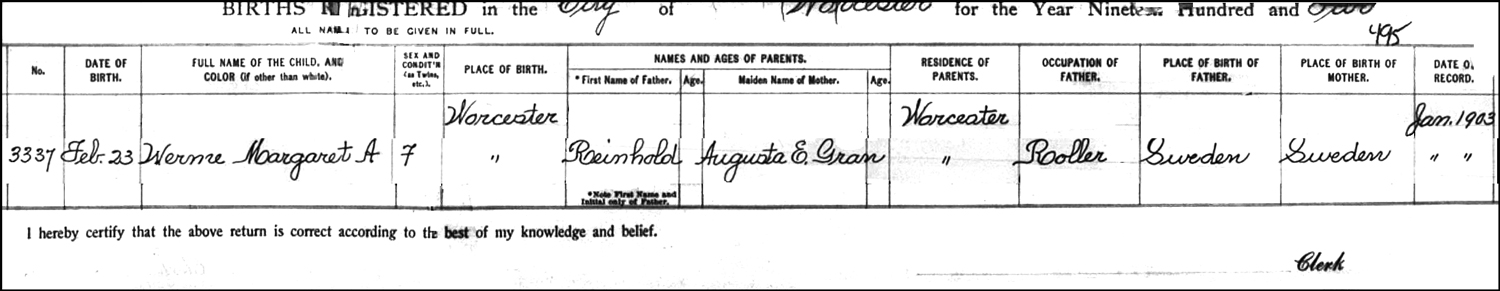 The Birth Record of Margaret A. Werme - 1902