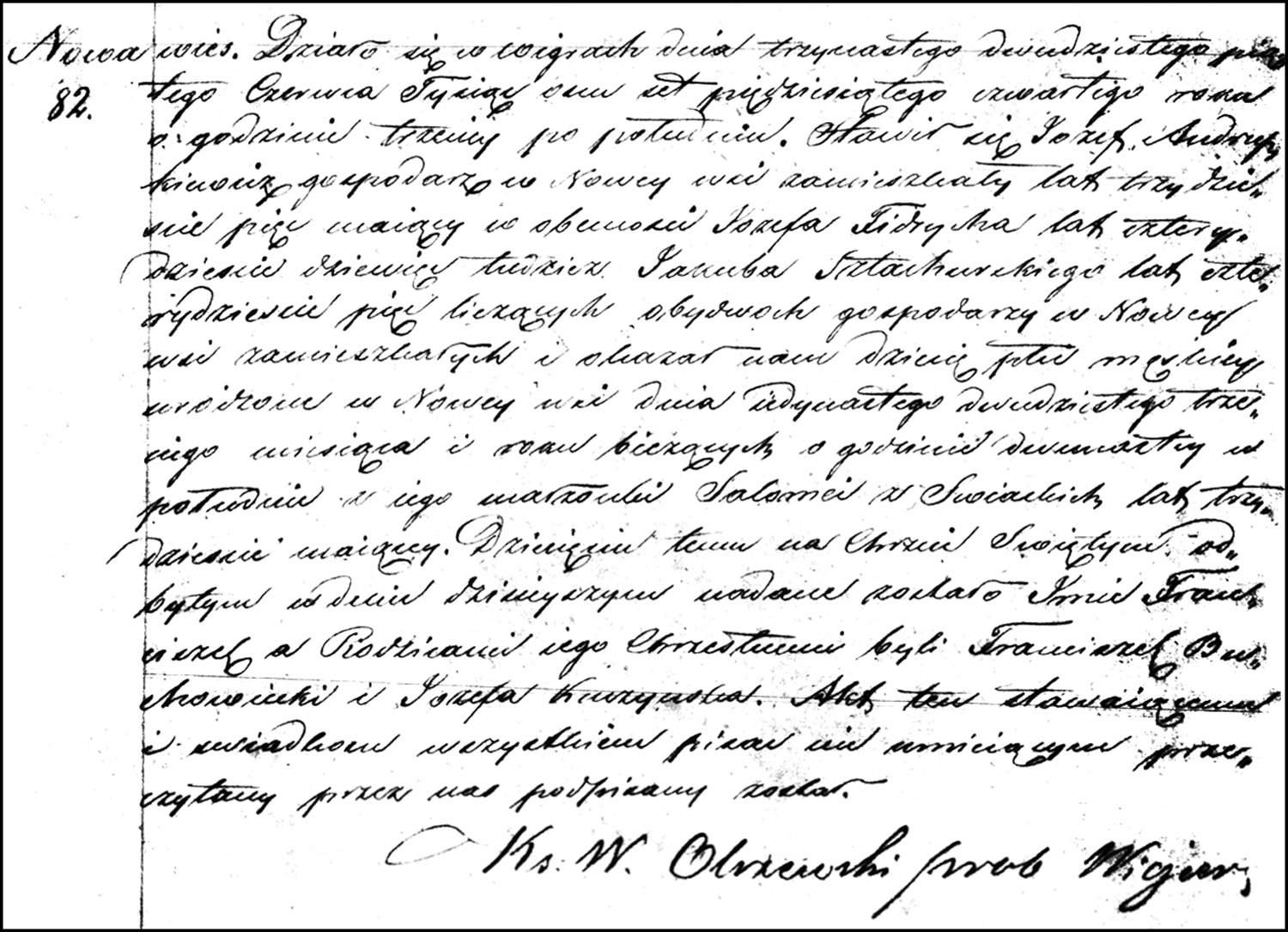 The Birth and Baptismal Record of Franciszek Andruszkiewicz – 1854