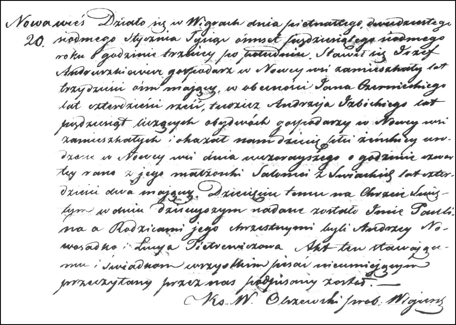 The Birth and Baptismal Record of Paulina Andruszkiewicz – 1857
