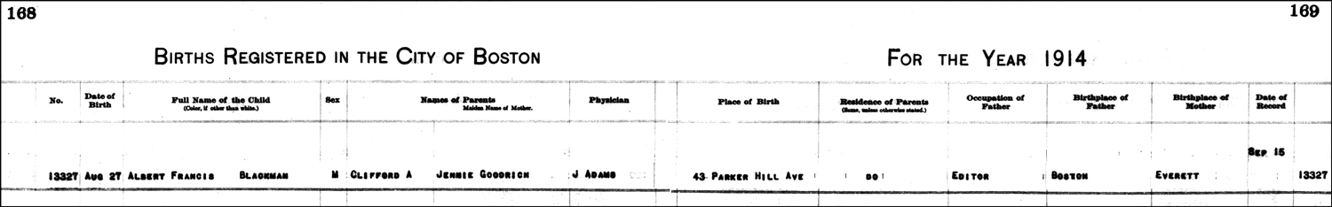 The Birth Record of Albert Francis Blackman – 1914