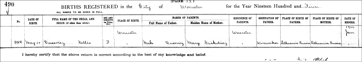 The Birth Record of Nellie Magdalene Dusavage – 1905