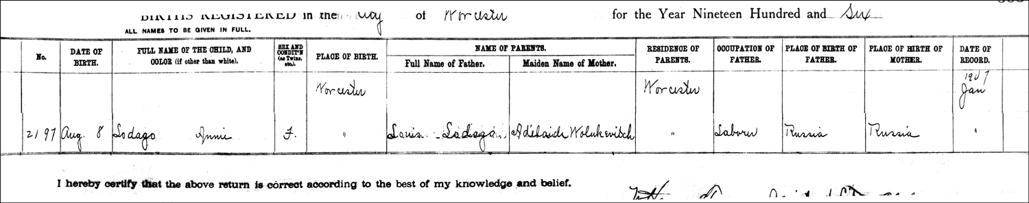 The Birth Record of Wanda B. Ladago – 1906