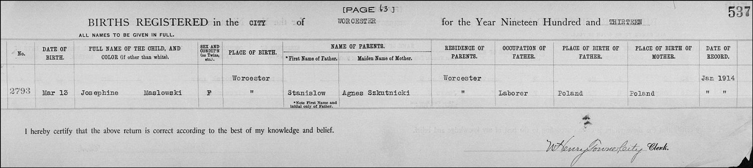 The Birth Record of Josephine I. Maslowski – 1913