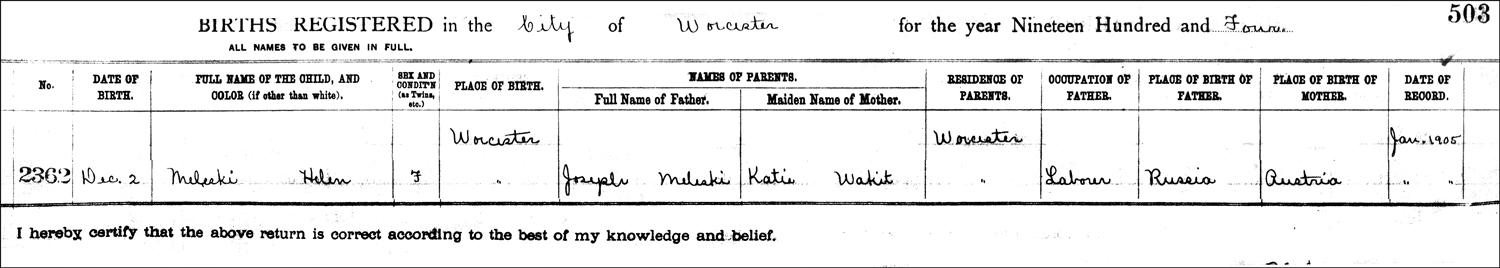 The Birth Record of Helene Rita Meleski – 1904