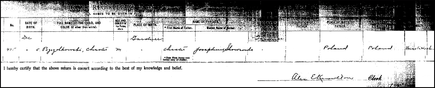 The Birth Record of Chester Pszczolkowski – 1917