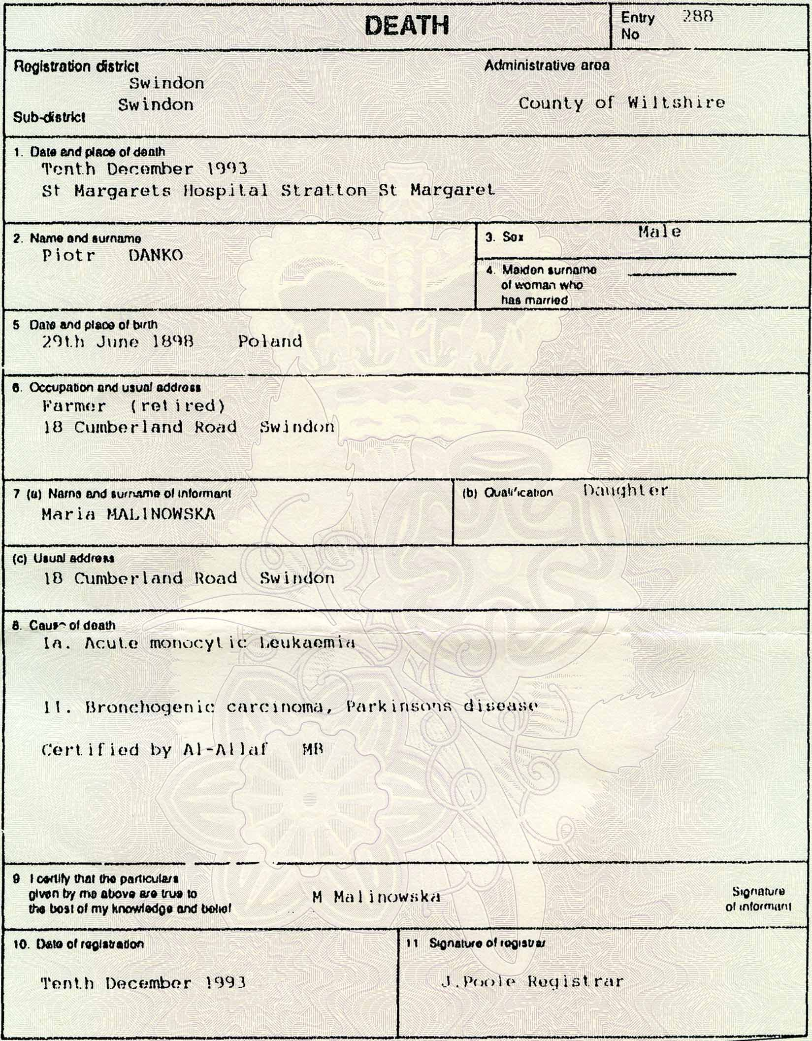 The Death Record of Piotr Dańko – 1993
