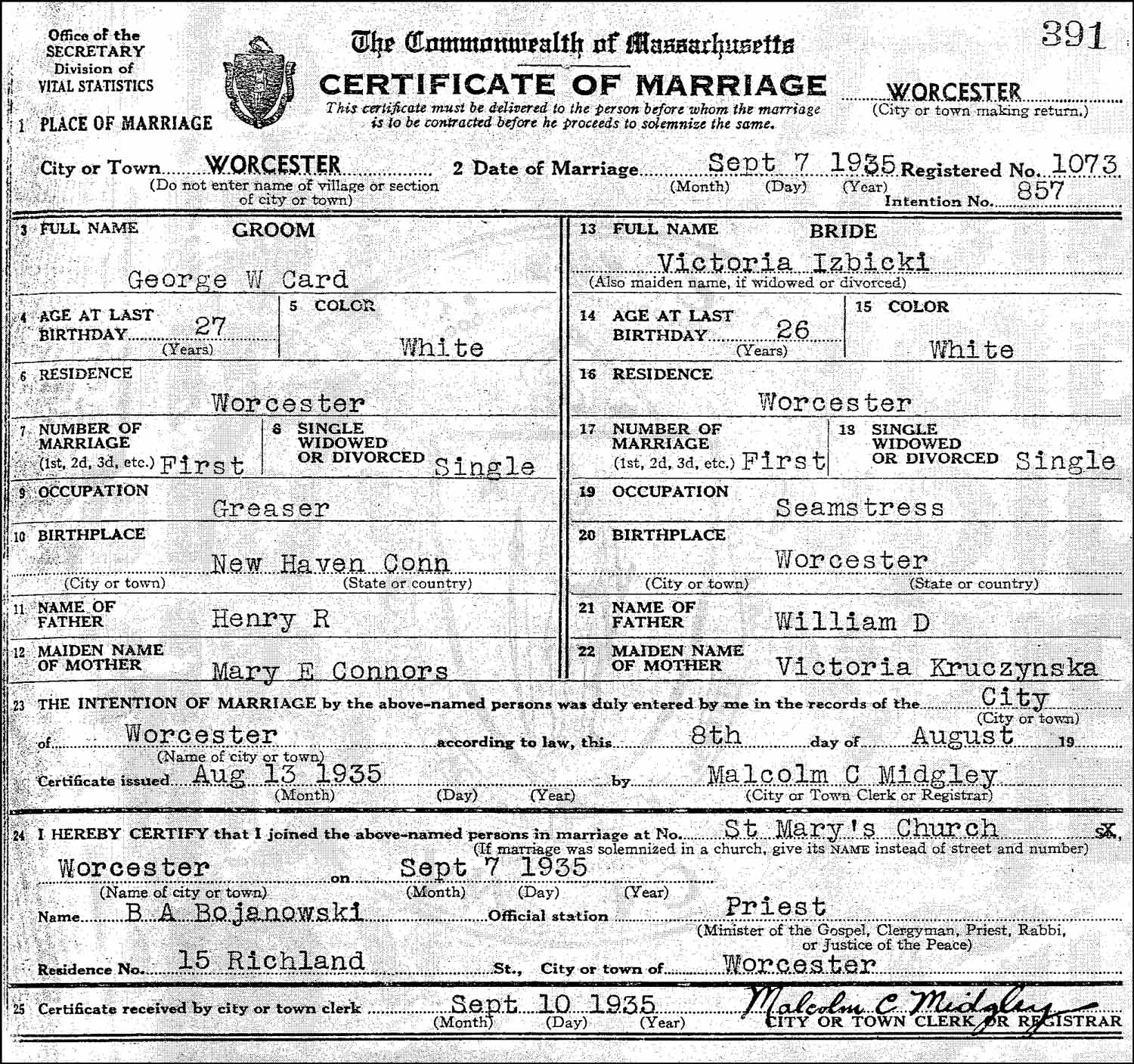 The Marriage Record of George W. Card and Victoria Izbicki – 1935
