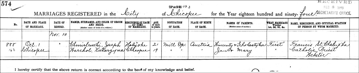 The Marriage Record of Józef Chmielewski and Katarzyna Warchol - 1894