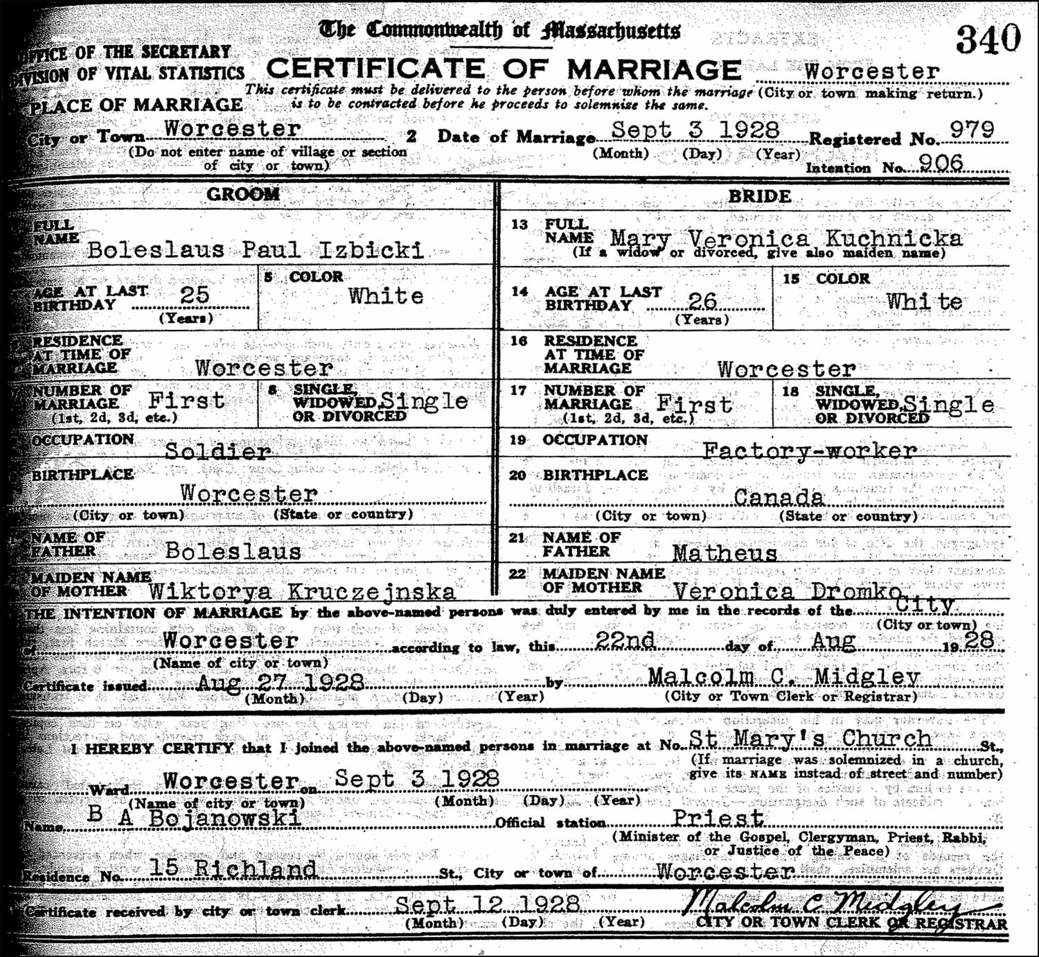 The Marriage Record of Boleslaus Paul Izbicki and Mary Veronica Kuchnicka – 1928