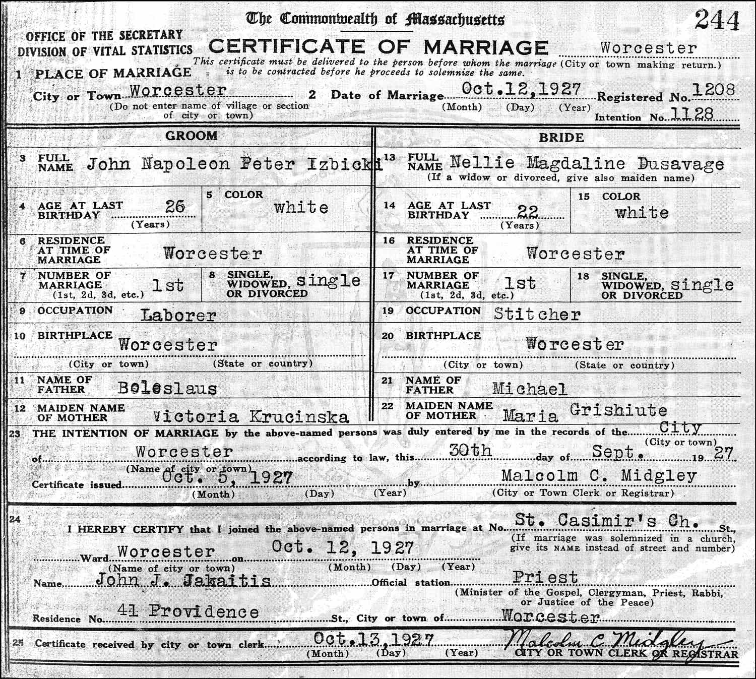 The Marriage Record of John Napoleon Peter Izbicki and Nellie Magdaline Dusavage – 1927