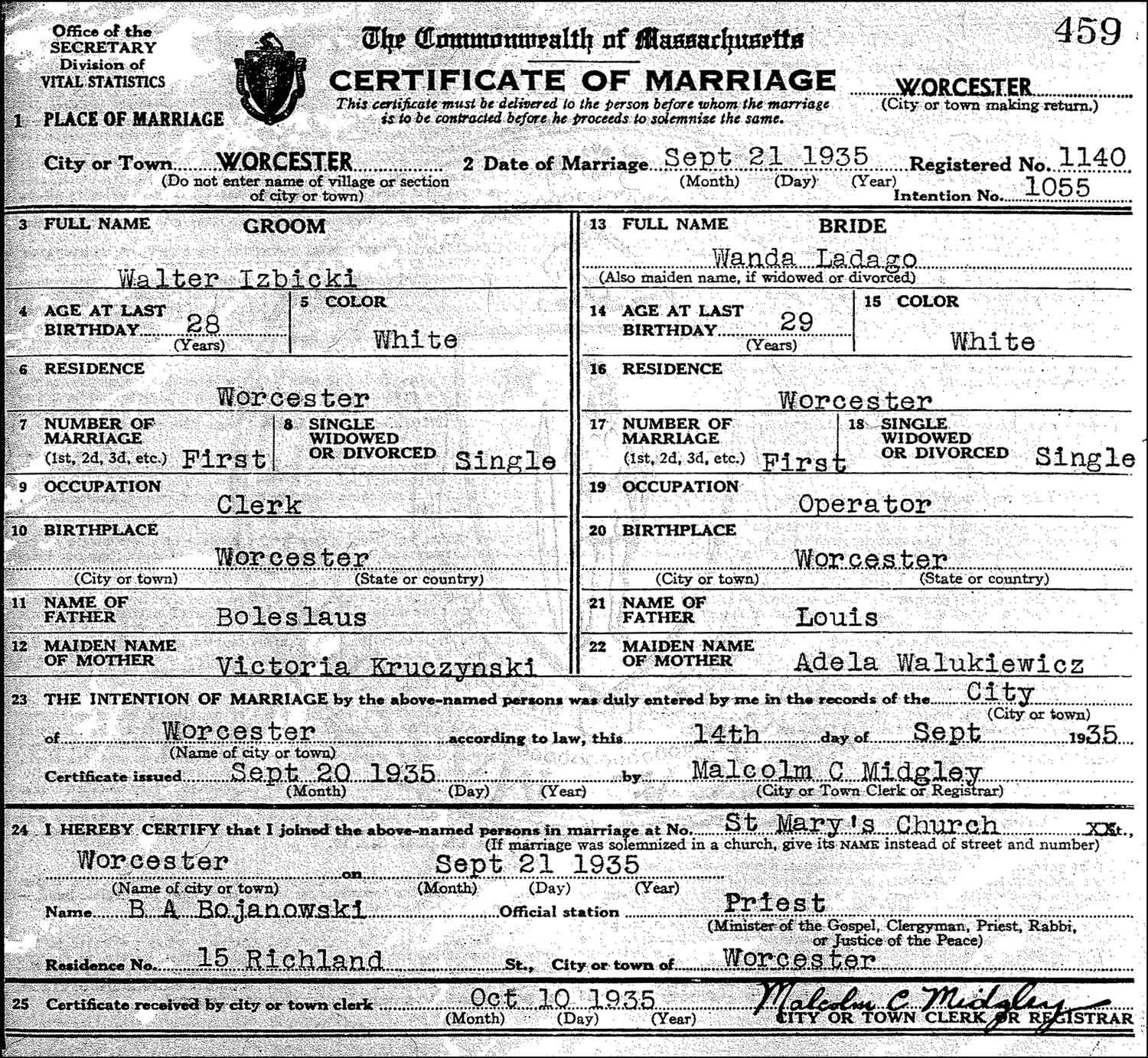 The Marriage Record of Walter C. Izbicki and Wanda B. Ladago – 1935