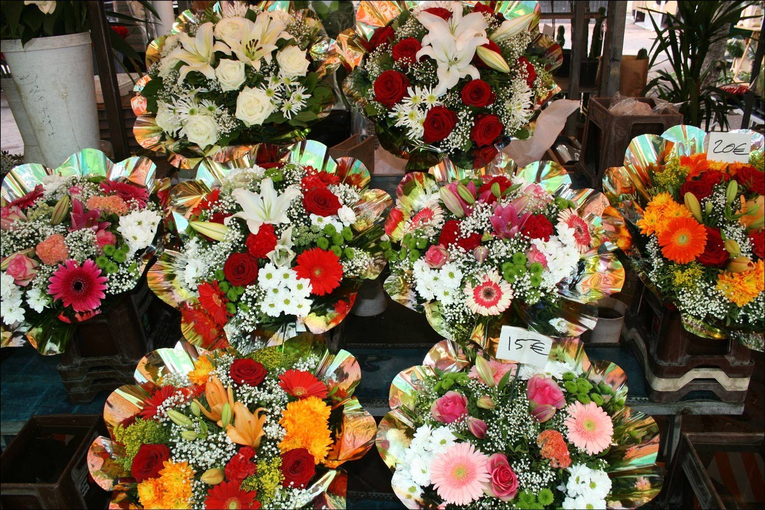 Flowers in the Outdoor Market in Nice