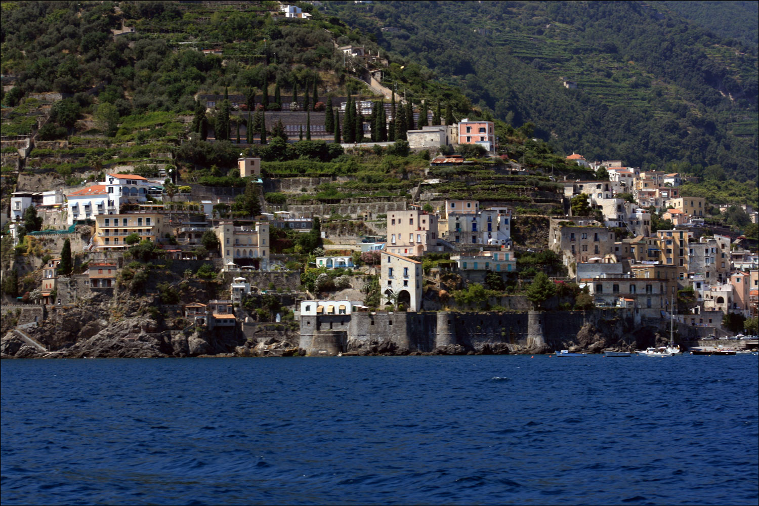Amalfi Coast Village with Cypress