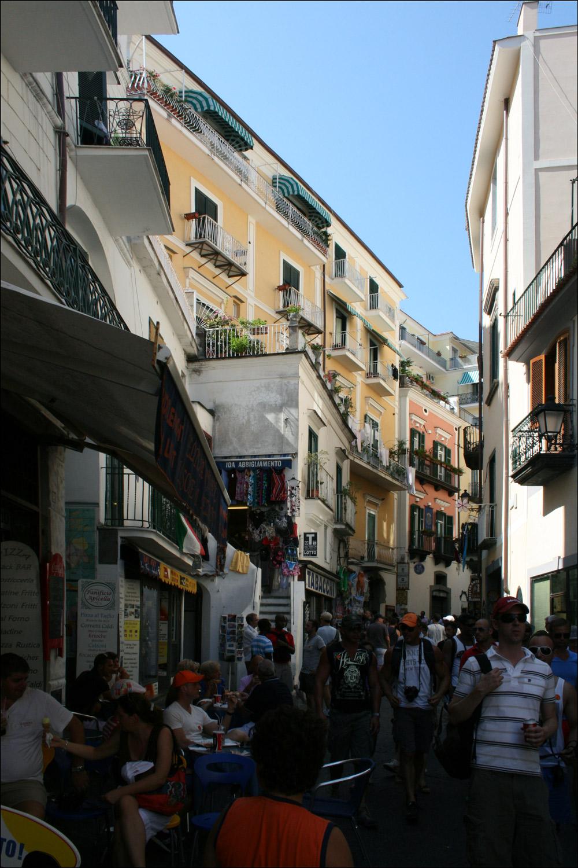 Bustling Amalfi Street Scene