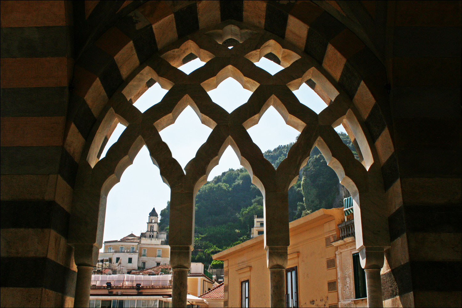 View Through the Lattice Work on the Portico