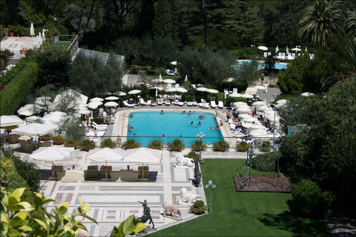 Patio and Pool at the Rome Cavalieri Hotel