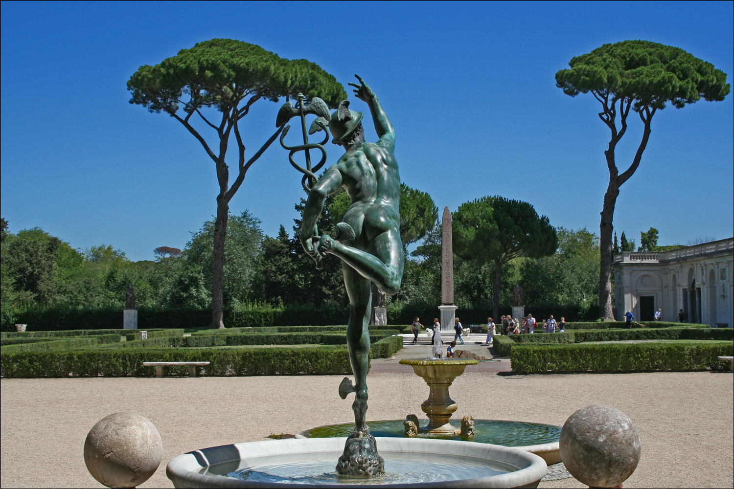 Sculpture of Mercury and the Obelisk at Villa Medici