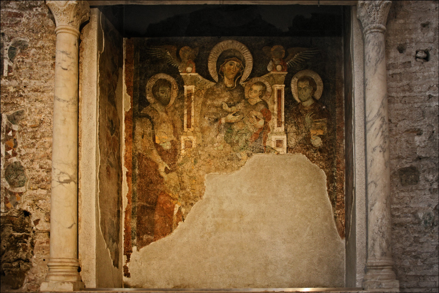 Fresco of the Virgin and Child