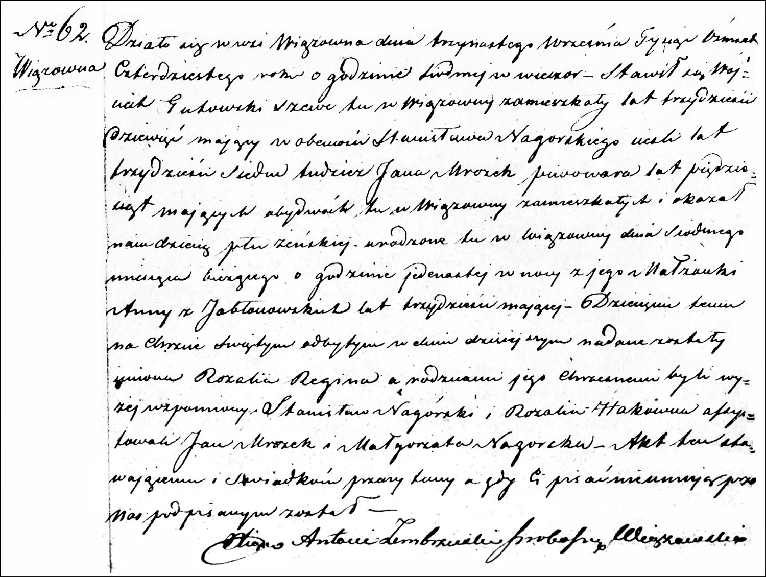 The Birth and Baptismal Record of Rozalia Regina Gutowska – 1840