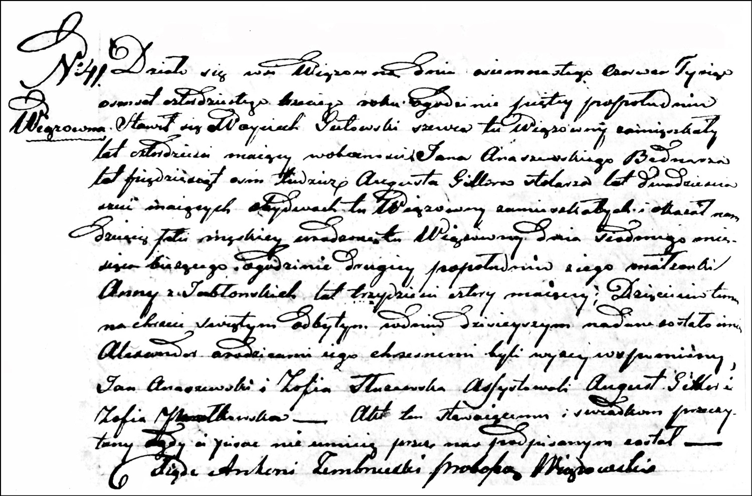 The Birth and Baptismal Record of Aleksander Gutowski – 1843