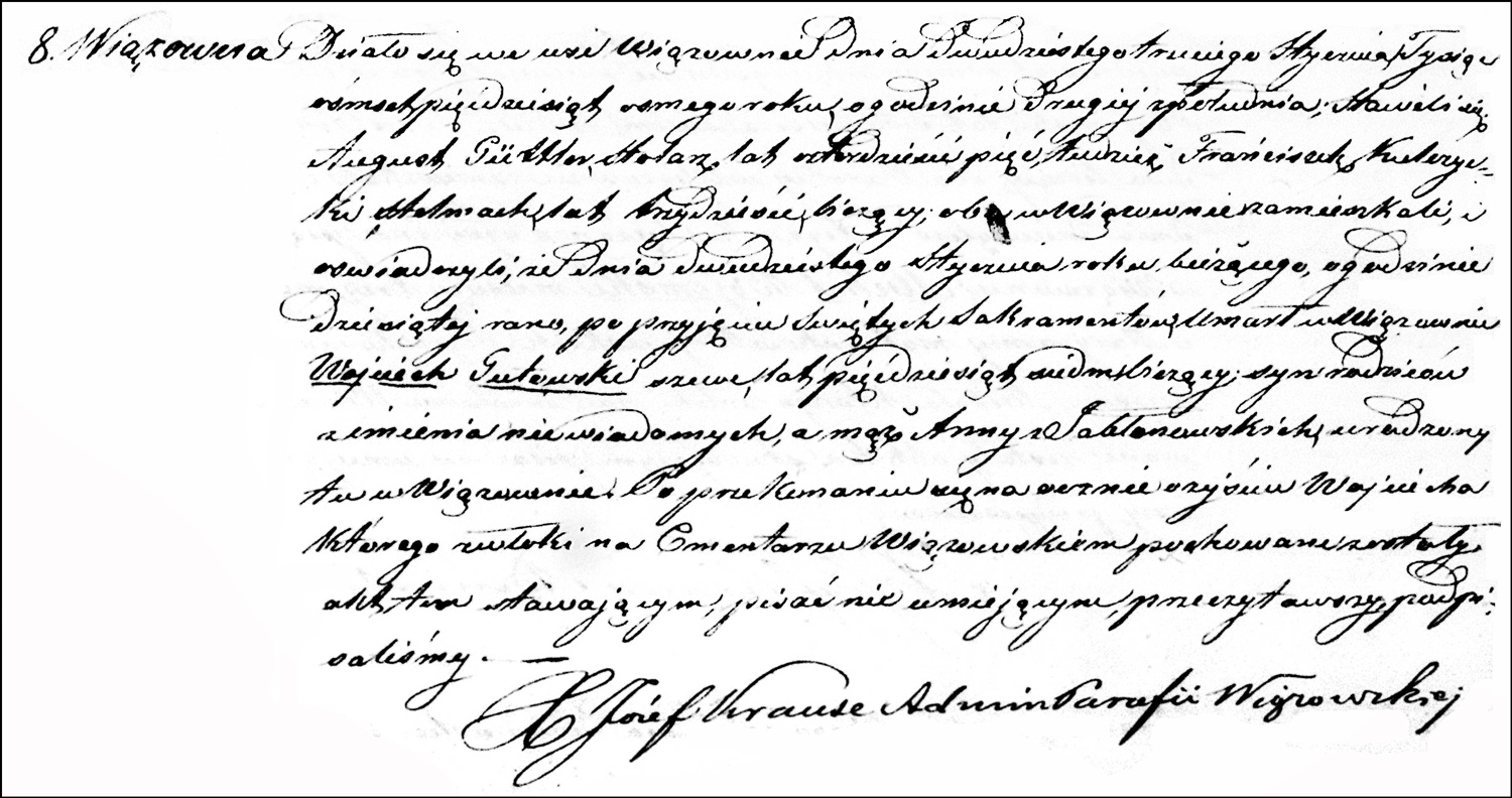 The Death and Burial Record of Wojciech Gutowski – 1858