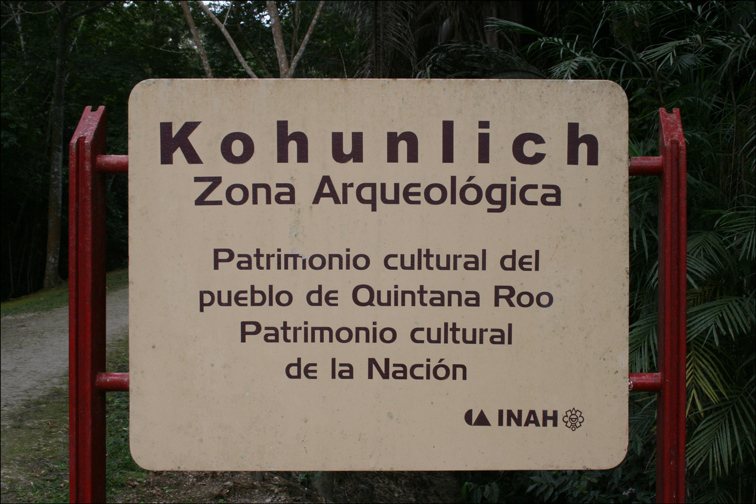 Entrance Sign at Kohunlich