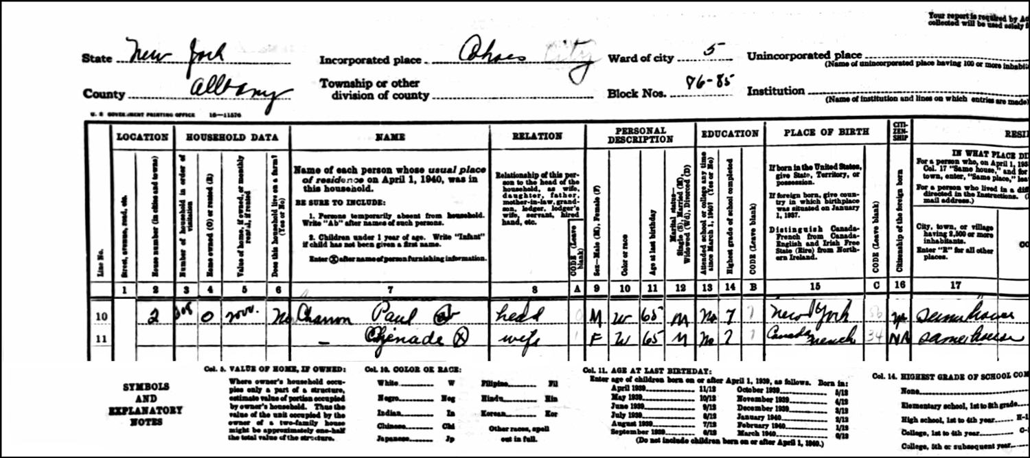 The 1940 US Federal Census Record for Paul and Zenaide Charron (Left)
