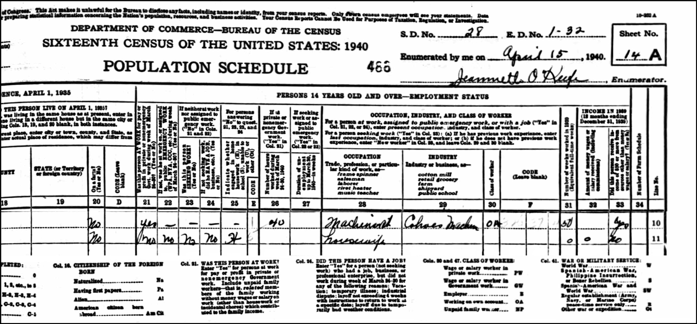 The 1940 US Federal Census Record for Paul and Zenaide Charron (Right)