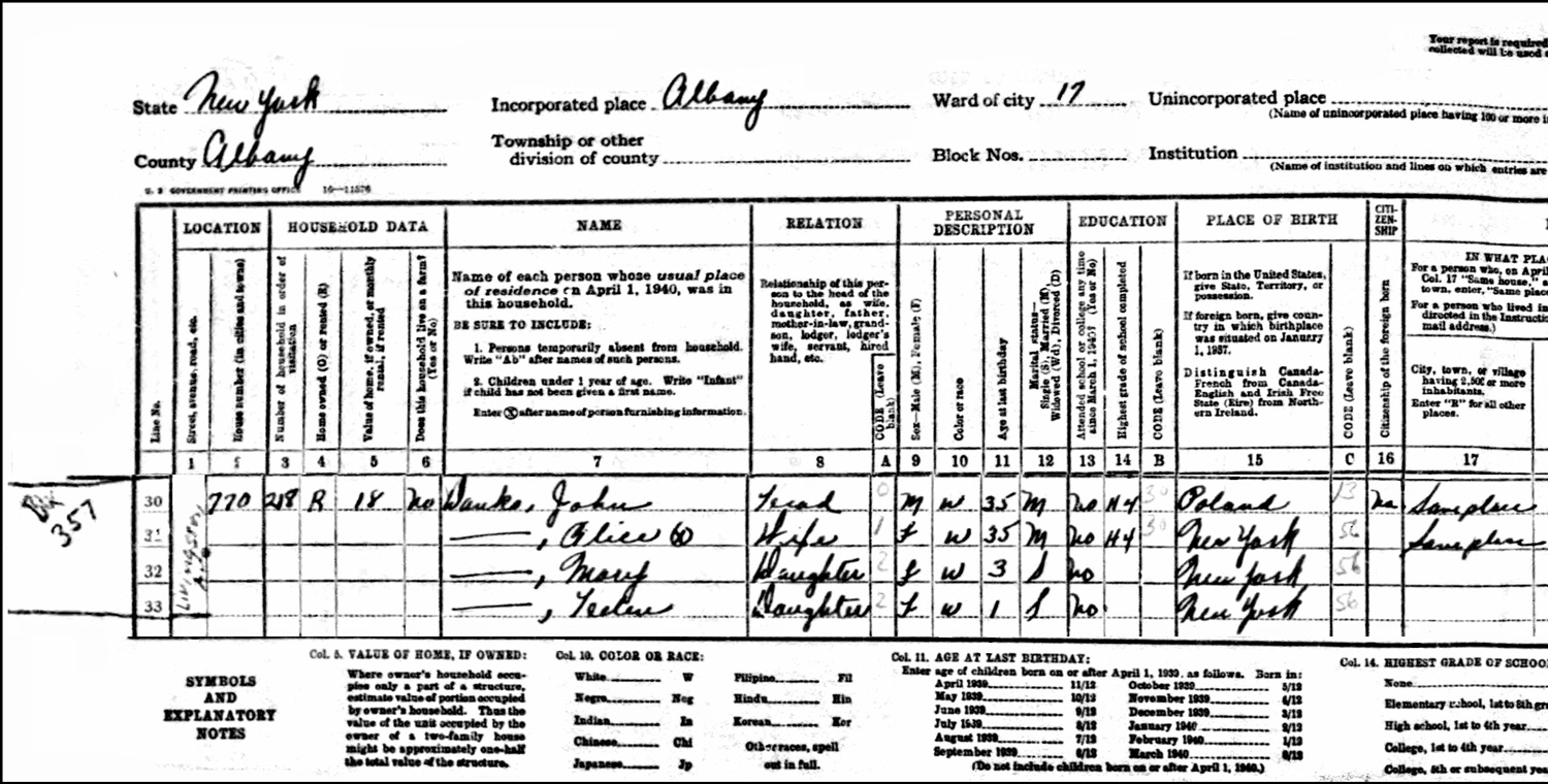 1940 US Federal Census Record for the John Danko Family (Left)