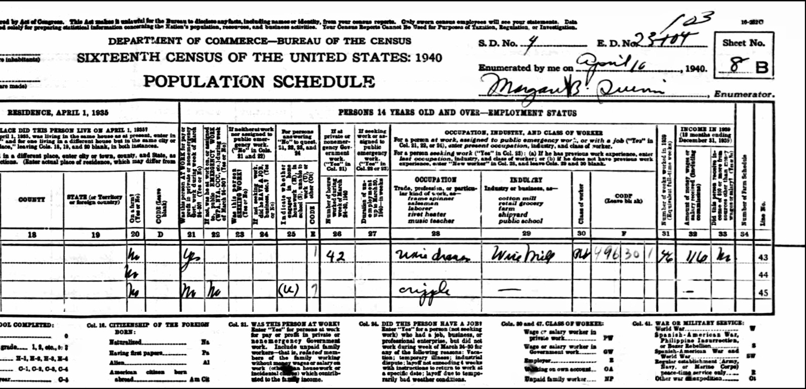 1940 US Federal Census Record for the Michael Dusavage Family (Right)