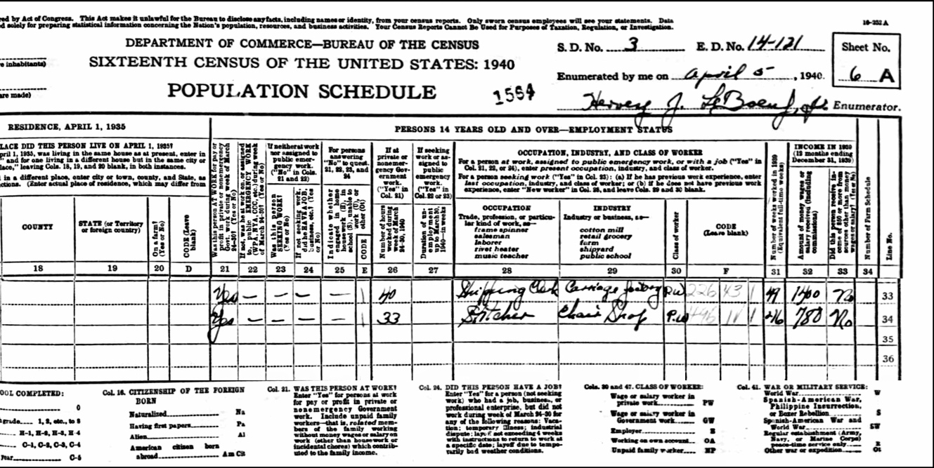 1940 US Federal Census Record for the Dymek Family (Right)