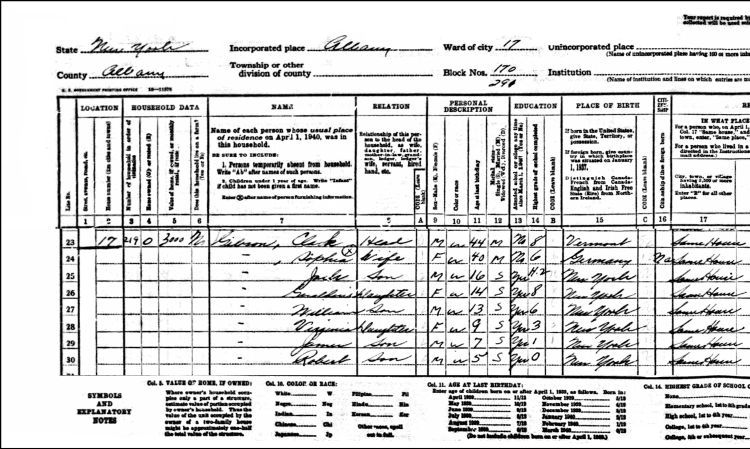 1940 US Federal Census Record for the Clark Gibson Family (Left)