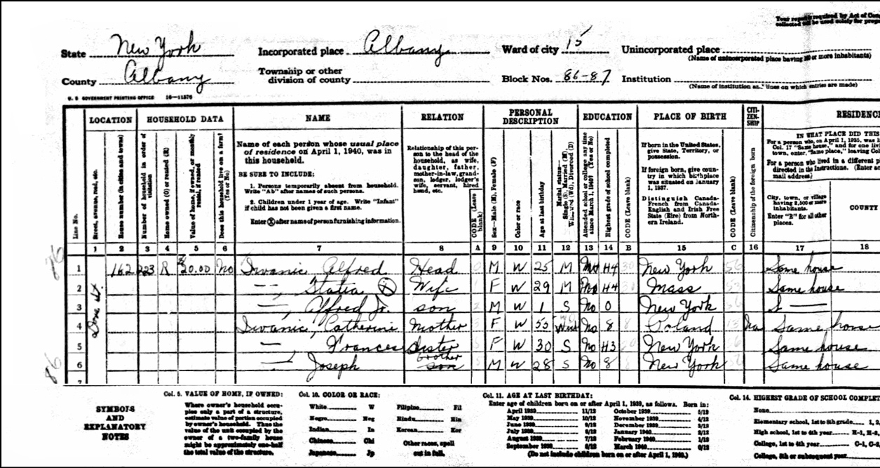 1940 US Federal Census Record for the Iwaniec Family (Left)