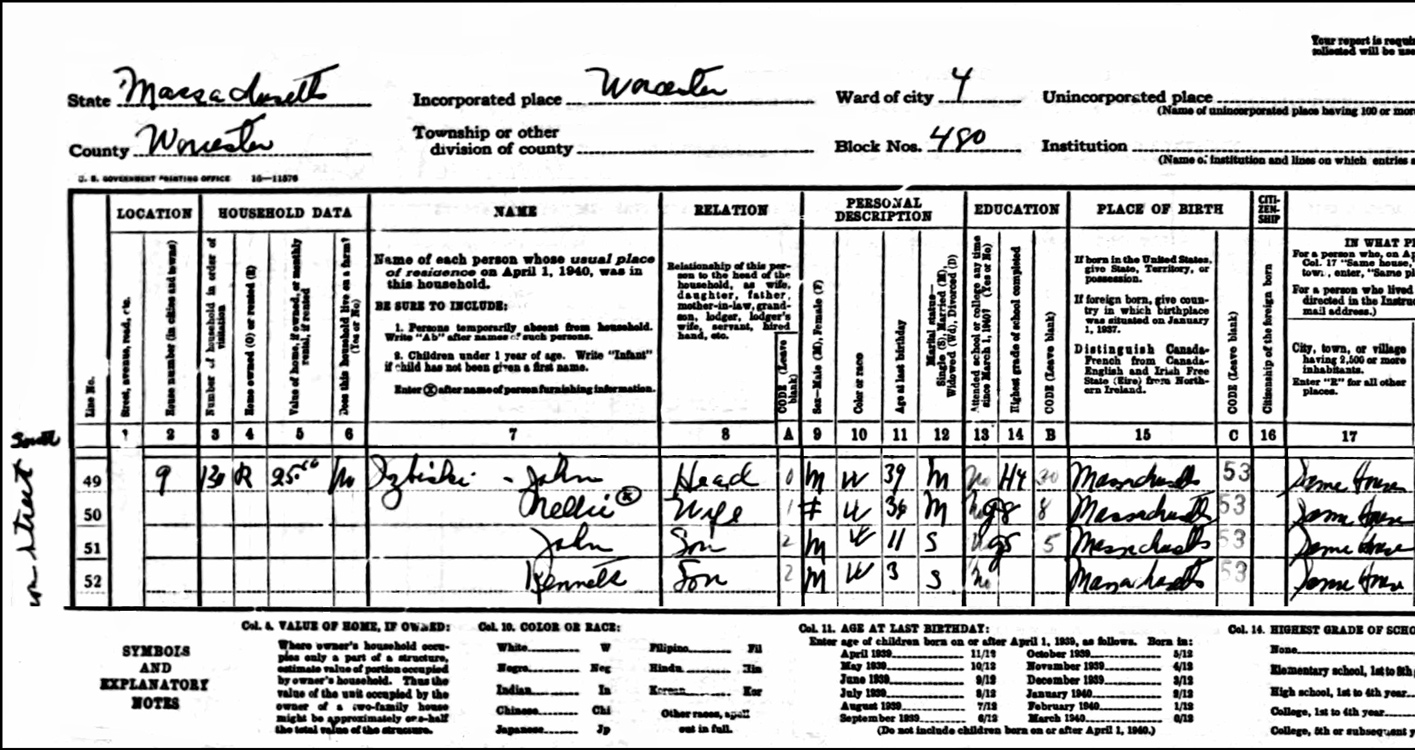 1940 US Federal Census Record for the John Izbicki Family (Left)