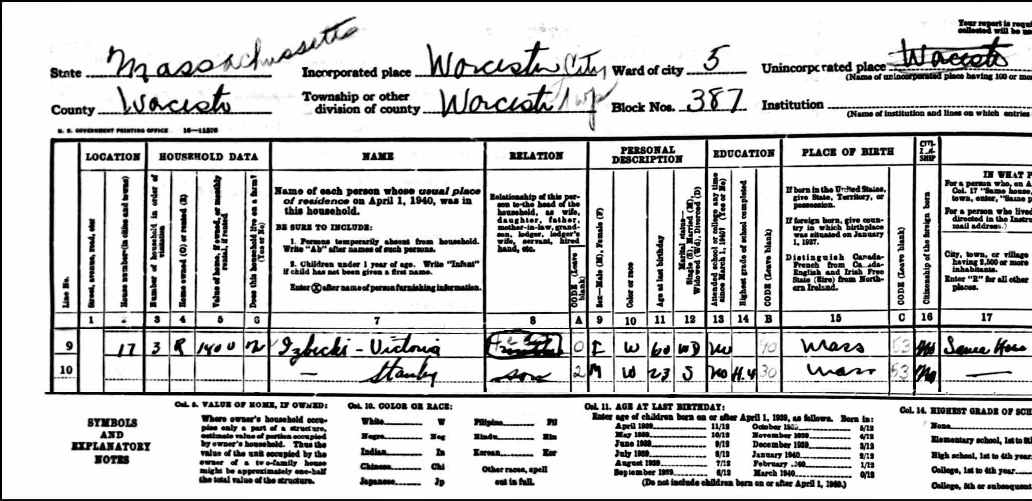 1940 US Federal Census Record for the Victoria Izbicki Family (Left)
