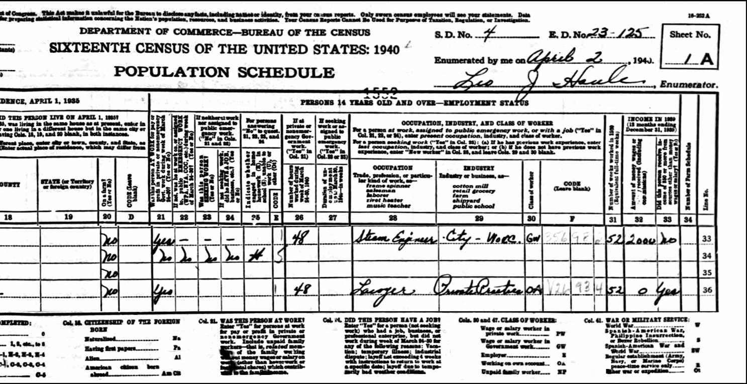 1940 US Federal Census Record for the Francis Meleski Household (Right)
