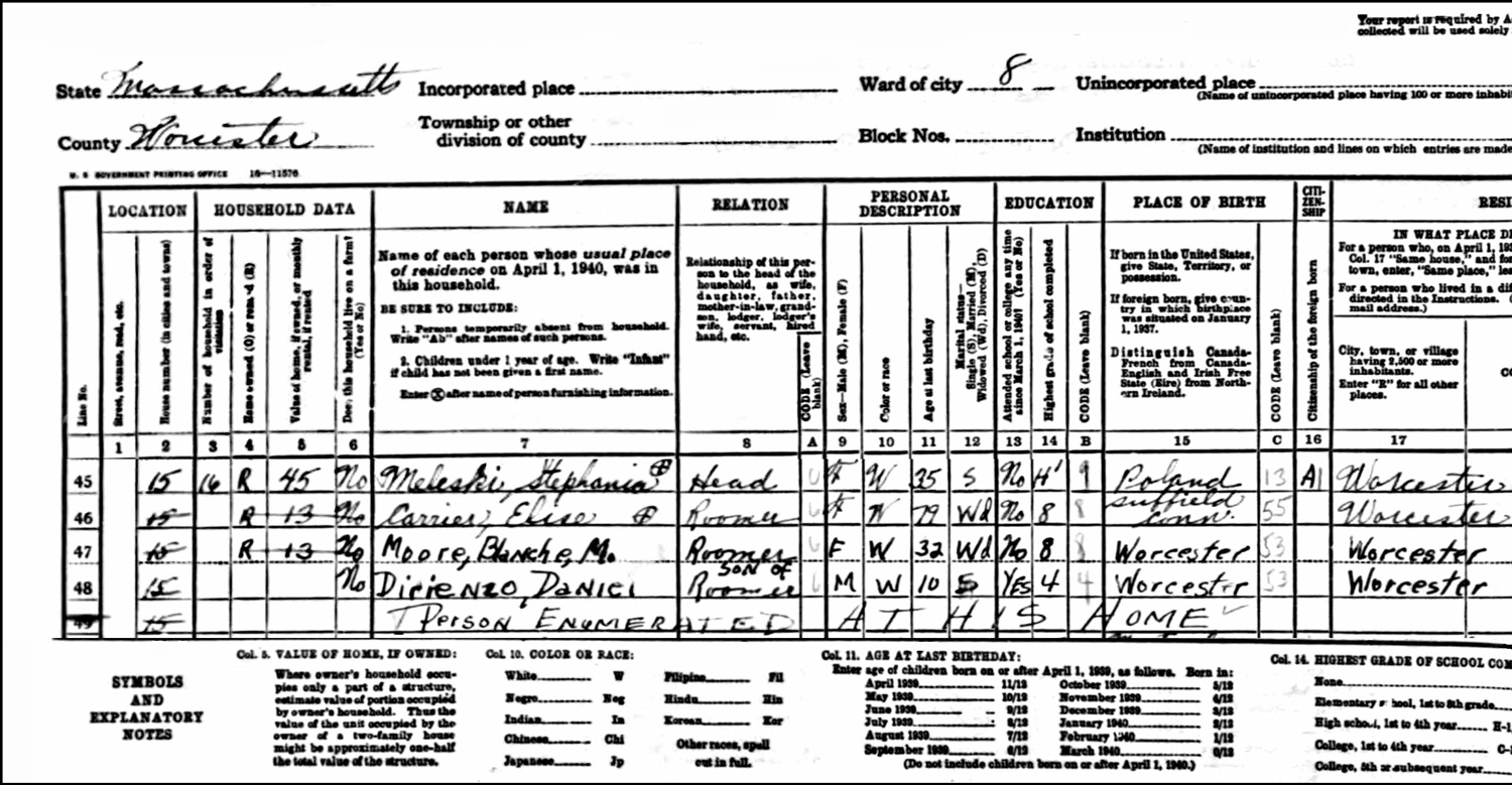 1940 US Federal Census Record for the Stephanie Meleski Household (Left)