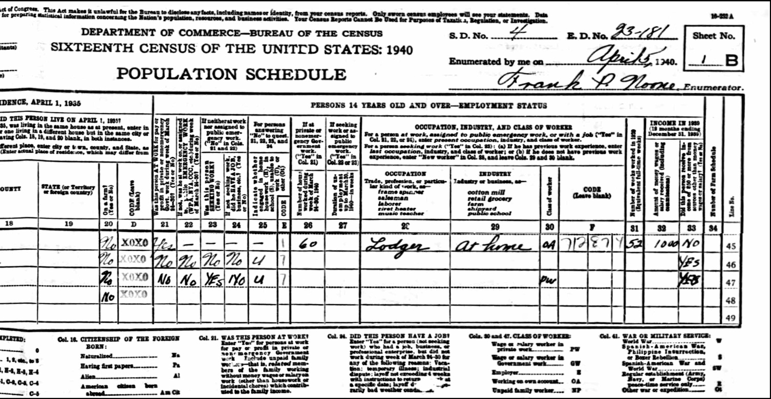 1940 US Federal Census Record for the Stephanie Meleski Household (Right)