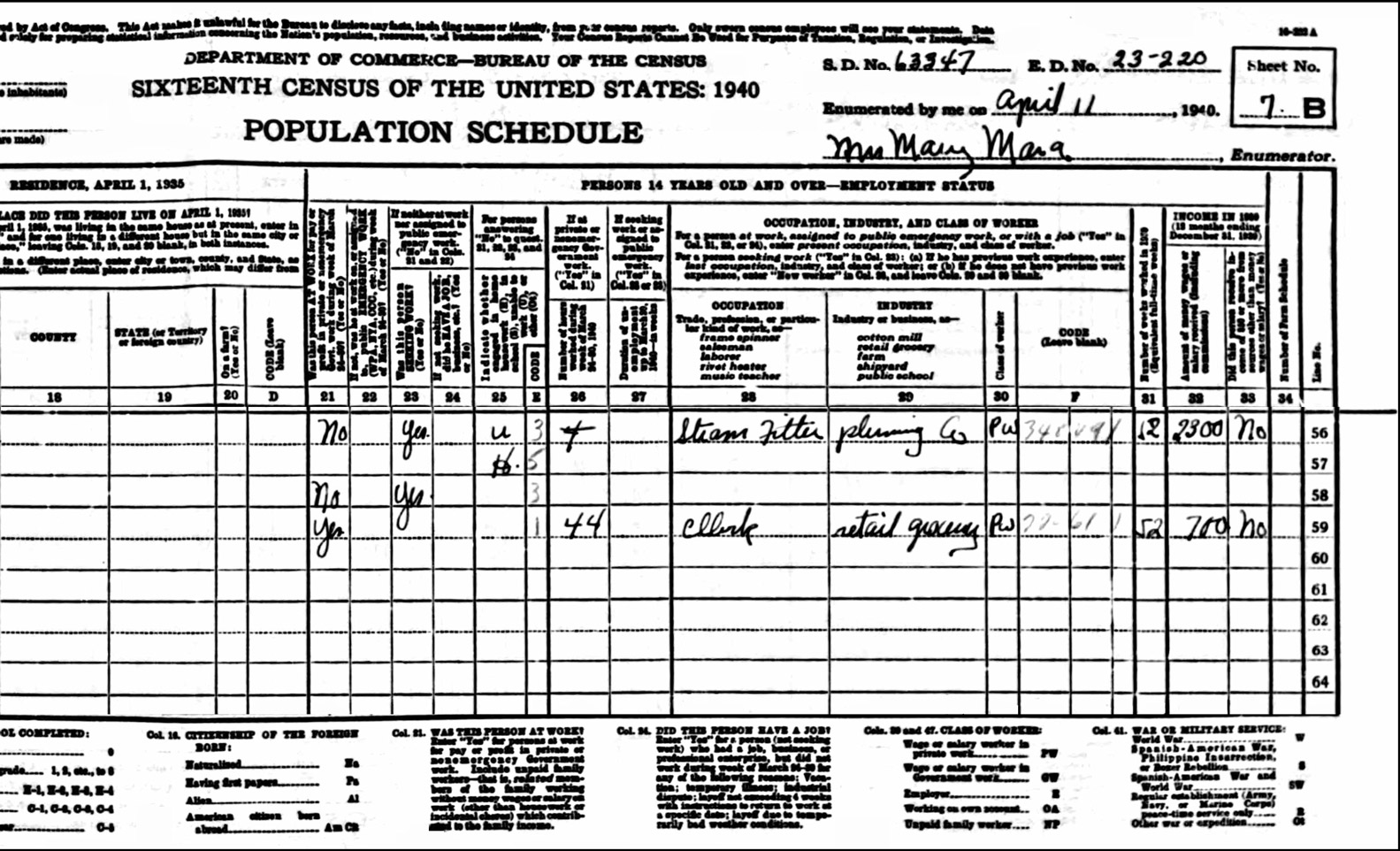 1940 US Federal Census Record for the Allister Rawding Household (Right)