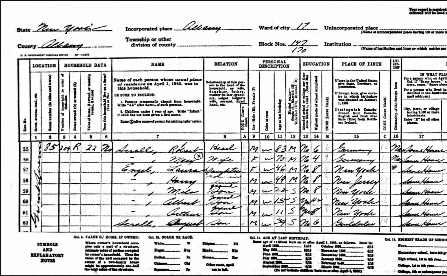 1940 US Federal Census Record for the Robert Schroll Family (Left)