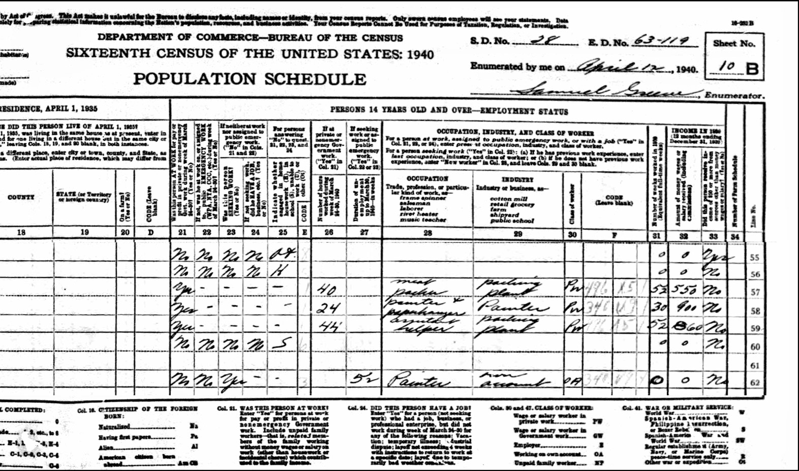 1940 US Federal Census Record for the Robert Schroll Family (Right)