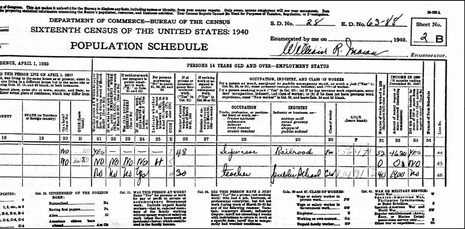 1940 US Federal Census Record for 43 South Allen Street (Right)