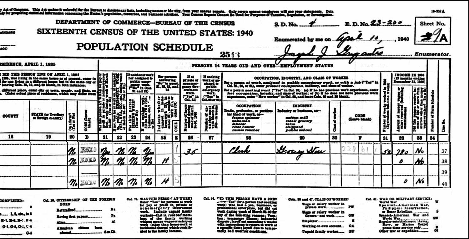 1940 US Federal Census Record for the George Card Household (Right)